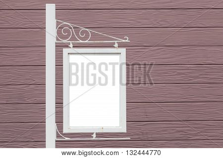 Blank metal shop sign board and building wall