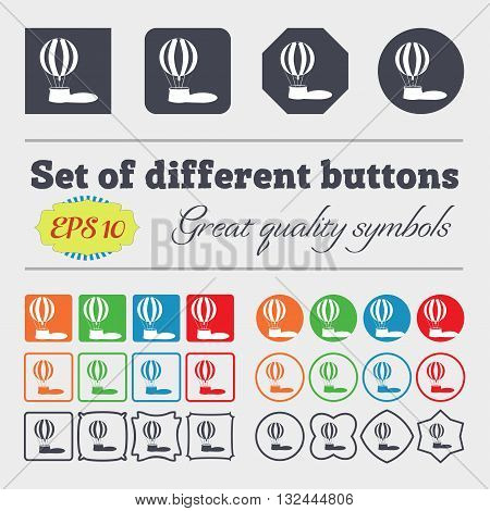 Hot Air Balloon Icon Sign. Big Set Of Colorful, Diverse, High-quality Buttons. Vector