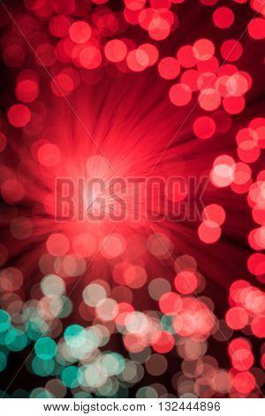 Bokeh from defocused red lights from a fiber optic lamp