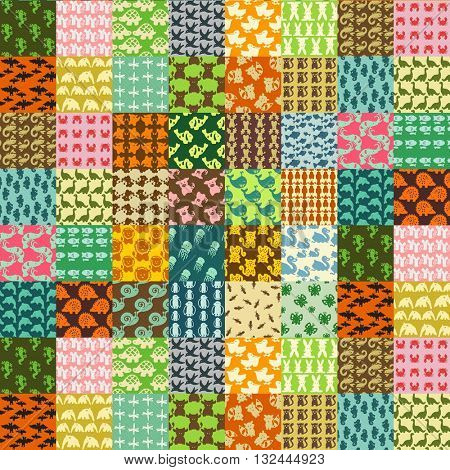 hand drawn patchwork made of animals patterns