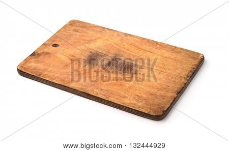 Old wooden cutting board isolated on white