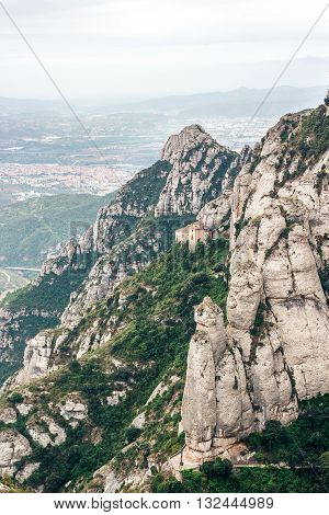Calm mountain landscape. Landscape Summer Travel. Scenic panoramic view of the mountain slope.