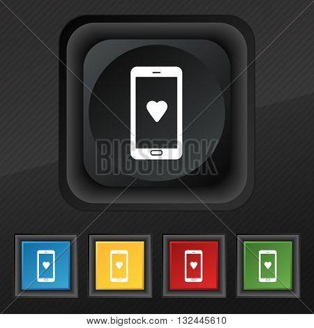 Love Letter, Valentine Day, Billet-doux, Romantic Pen Pals Icon Symbol. Set Of Five Colorful, Stylis