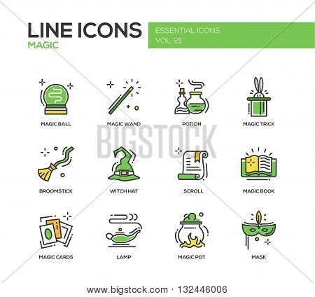Set of modern vector line design icons and pictograms of magic and fairy tale elements. Wand, potion, trick, witch hat, broomstick, mask, lamp, cards, pot, scroll, book