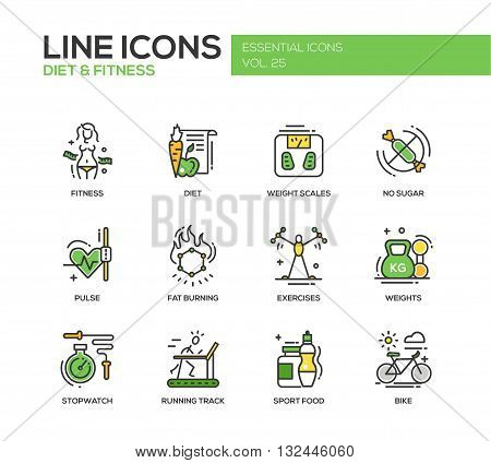 Set of modern vector line design icons and pictograms of diet, fitness and healthy lifestyle elements. Weight scales, pulse, exercises, bike, sport, sugar free food, stopwatch, running track