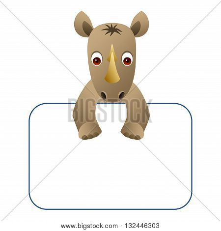 Clipart picture of a rhino cartoon character holding a blank board.