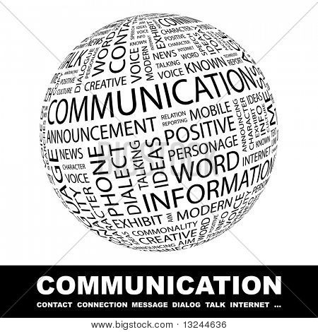 COMMUNICATION. Globe with different association terms.