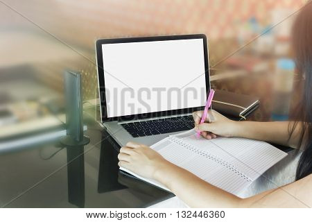 Women Or Girl Writing Down On Blank Note Book Or Making Memo On Empty Memorandum Or Diary Book With