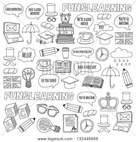 Vector set of doodle patterns and icons School Language English Learning