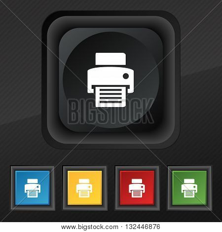 Fax, Printer Icon Symbol. Set Of Five Colorful, Stylish Buttons On Black Texture For Your Design. Ve