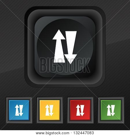 Two Way Traffic, Icon Symbol. Set Of Five Colorful, Stylish Buttons On Black Texture For Your Design