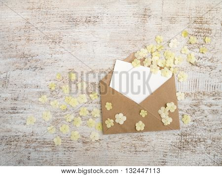Kraft paper envelope with blank card and white viburnum flowers on the rustic white painted background