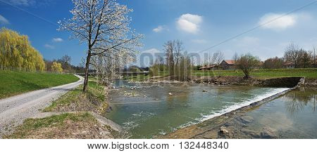 Hiking Route Along The Riverside Of Mangfall River At Springtime