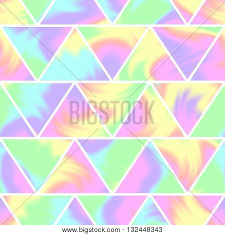 Seamless holographic pattern. The geometric shape. Modern trendy design for cards posters book covers brochures web banners. Different colors. Abstract vector illustration.