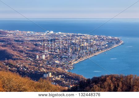 View of the Adler district of Sochi from the observation tower of Akhun mountain. Russia