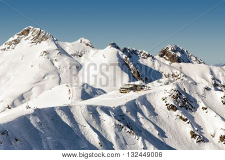 Aibga Ridge. Mountains near the ski resort of Rosa Khutor in Krasnaya Polyana. Sochi, Russia