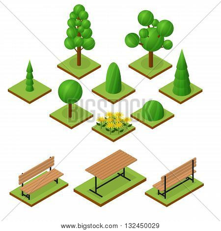 Set of Trees and bushes in isometric view. Isometric wooden bench and table. The place to stay. Flower bed of sunflowers. The elements of the Park or garden. Vector illustration.