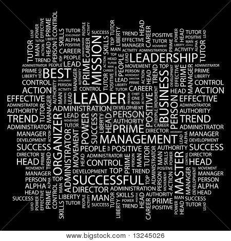 LEADER. Word collage on black background. Illustration with different association terms.