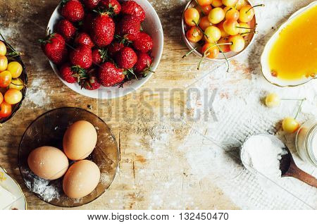 Cooking Cake With Fresh Ingredients For Preparing In Cooking. Ru