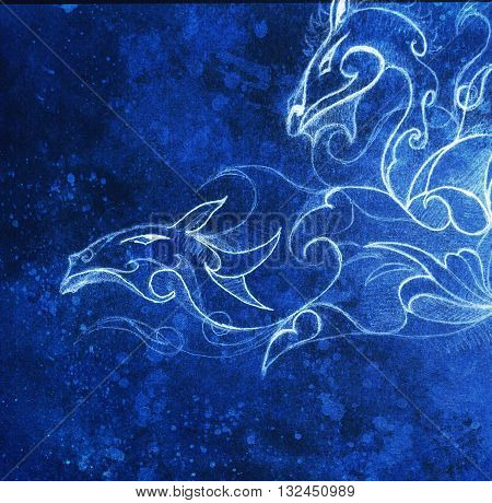Drawing of ornamental dragon. computer collage and blue color structure. Winter effect