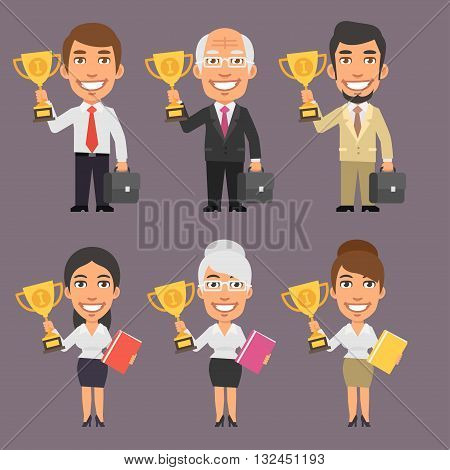 Vector Illustration, Businessman and Businesswoman Holding Cup, format EPS 8