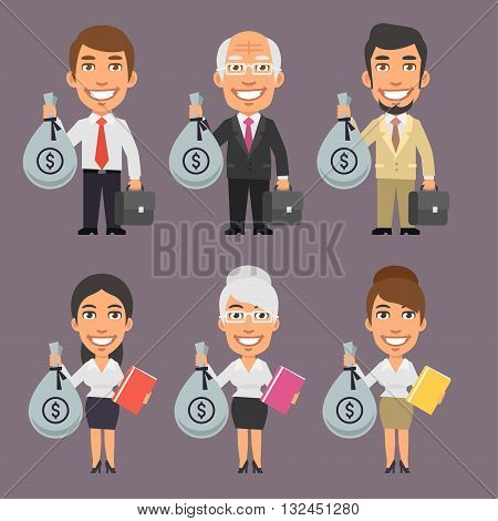 Vector Illustration, Businessman and Businesswoman Holding Money Bag, format EPS 8