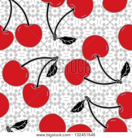 Cherry Seamless Pattern. Hand drawn ornamental wallpaper or textile pattern with cherry motive, in vector format.