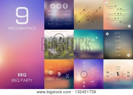 BBQ vector infographics with unfocused blurred background