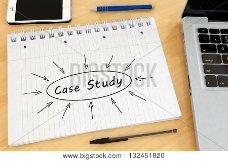 Case Study - handwritten text in a notebook on a desk - 3d render illustration.