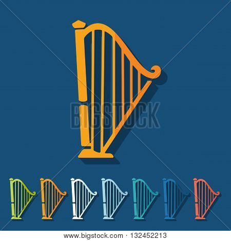 It is a illustration Flat design: harp
