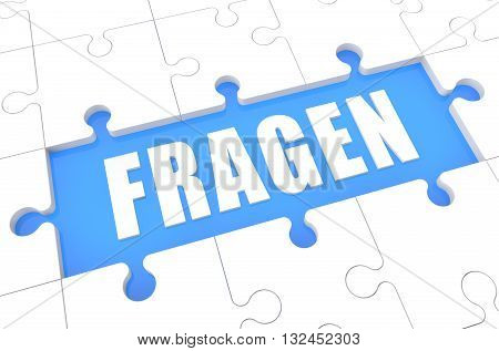 Fragen - german word for questions - puzzle 3d render illustration with word on blue background