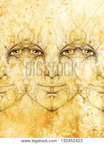 mystic man face with floral ornament. Drawing on paper, Color effect. Eye contact