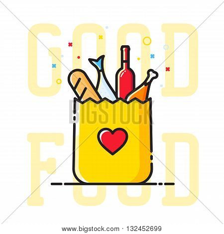 Good Food Paper Bag with Heart Symbol, Bread, Wine, Fish, etc. Abstract Vector Illustration. Shopping or Delivery Sign. Catering Icon. Isolated.