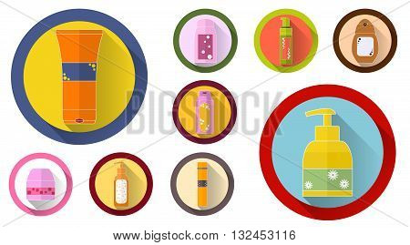 Set of Cosmetic tubes with shadow. Flat icons. Packaging of shower gel shampoo soap cream. Cosmetic bottles. Design for a cosmetics store or Spa. Bright colors. Vector illustration.