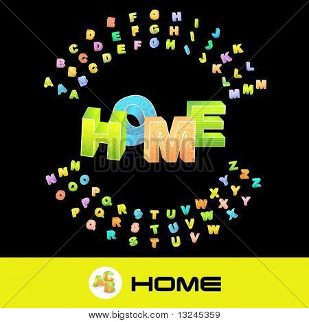 HOME. Vector 3d illustration with colored alphabet.