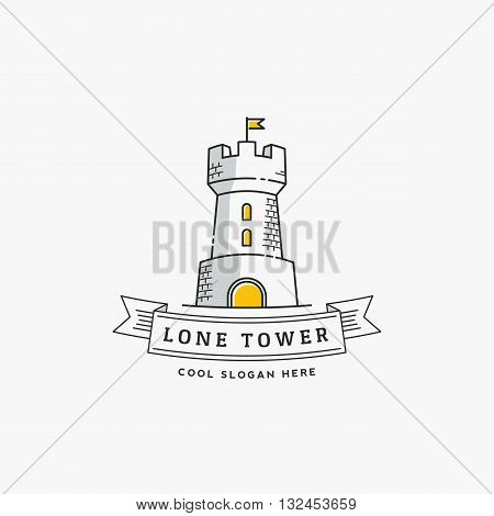 Lone Tower Abstract Vector Sign, Icon, Label or Logo Template in Line Style. Stronghold with a Flag and Typography Banner. Isolated.