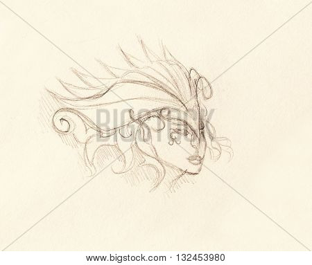 mystic woman face and headband. pencil drawing on paper