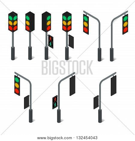 Traffic light. Led backlight. Flat isometric. Pedestrian traffic light. Continued movement on the green light. Cars at the intersection. Urban element. The rules of the road. Vector illustration.