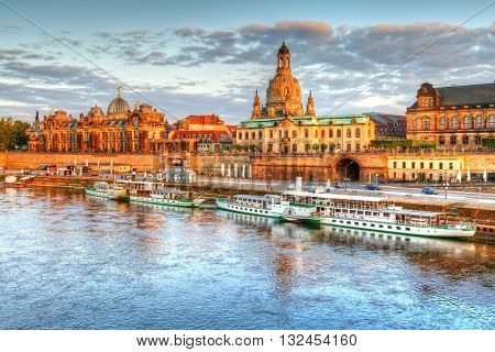 DRESDEN, GERMANY - MAY 14, 2016: View of the old town of Dresden over river Elbe, Germany on May 14, 2016.