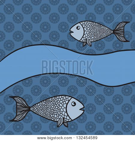 Print with two cartoon fishes and blank banner on blue color background.