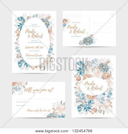 Wedding invitation card set. Invitation, Save the date,  RSVP, Reception, Thank you  card template with floral background. Isolated on white backdrop