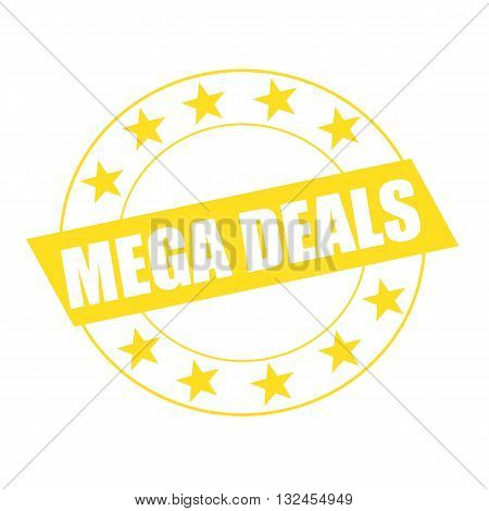 MEGA DEALS white wording on yellow Rectangle and Circle yellow stars