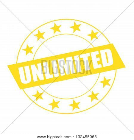 unlimited white wording on yellow Rectangle and Circle yellow stars