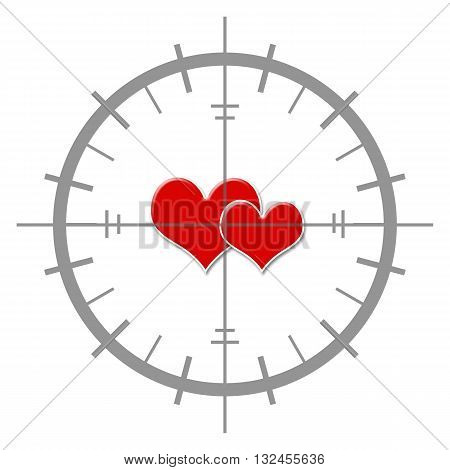 Romantic dating concept image with two red hearts inside target sign.