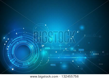 Vector illustration Abstract futuristic eyeball on circuit board high computer technology. Light green and blue color background