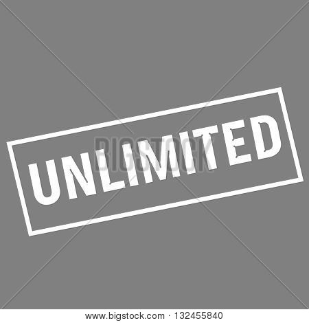 unlimited white wording on rectangle gray background