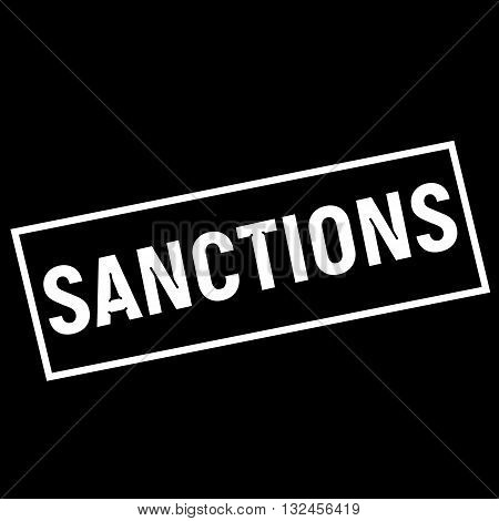SANCTIONS white wording on rectangle black background