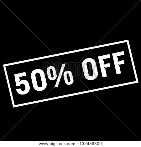 50% OFF white wording on rectangle black background
