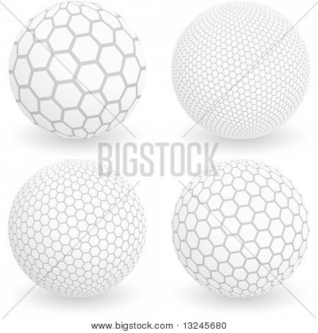 Globe with hexagon signs. Vector illustration.