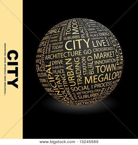CITY. Globe with different association terms.